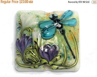 ON SALE 35% OFF Blue Dragonfly w/Purple Flora Pillow Focal Bead 11816604- Handmade Glass Lampwork Bead