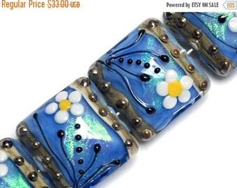 ON SALE 30% off NEW! Four Arctic Blue Florals Pillow Beads 10414214 - Handmade Glass Lampwork Bead Set