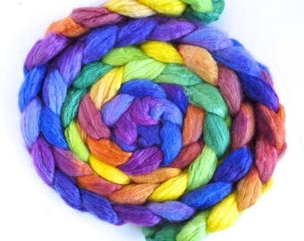 Rainbow Palace on Blueface Leicester/ Tussah Silk Roving - Handpainted Spinning or Felting Fiber