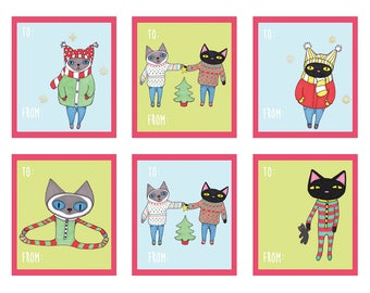 Printable Gift Tags | Christmas Gift Tags | Holiday Gift Tags | Party Favors | Winter Cats | Instant Download | Digital File | Gift Wrapping