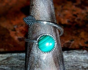 Malachite Sterling Silver Leaf Wrap Ring