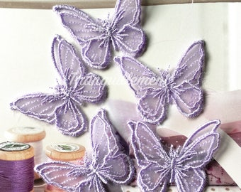 5 Small Light Purple Double Layered Organza Butterfly Wedding Cocktail Dress Gown Hair Craft Sew On Appliques Embellishment Decorations