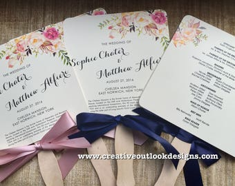 Watercolor Blossom Flower Theme Wedding Ceremony Fan  Program