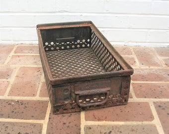 Vintage Metal Basket Industrial Basket With Handles
