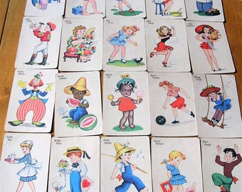 Vintage Old Maid Cards Whitman Publishing Co 1930's 21 Vintage Old Maid Cards