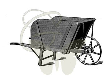 Digital Download Old Wheelbarrow Gardening Artwork Illustration Printable Clip Art Image Transfer