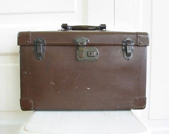 Vintage Brown Suitcase, Brown Case, Industrial Storage, Brown Suitcase, Instrument Case, Industrial Case, Vintage Camera Case, Vintage Case