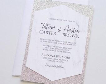 White Marble Glitter Wedding Invitation - Hexagon Invitation - Silver Glitter Invite - Elegant Modern Invitation - Tatum Sample