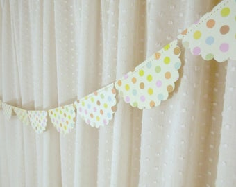 Polka Dot Garland, Scalloped Bunting Banner, Decorative Garland, Baby Shower Decor, Birthday Party Decoration