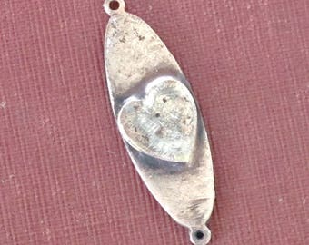 Soldered art heart charm - connector - mixed metals