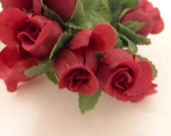 Vintage Burgundy Rosebud Bouquet