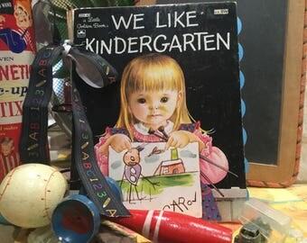 WE LIKE KINDERGARTEN Altered Golden Book Mixed Media Jiurnal Scrapbook