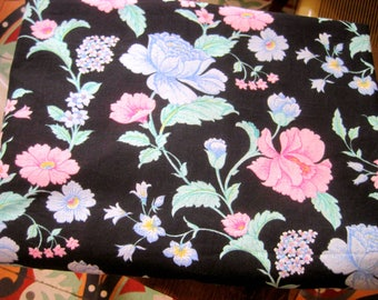 Vintage French Fabric,  French Florals, 1970s Floral Fabric, Dress Fabric, Florals On Black, Dress Making Material, Patchwork, Quilting