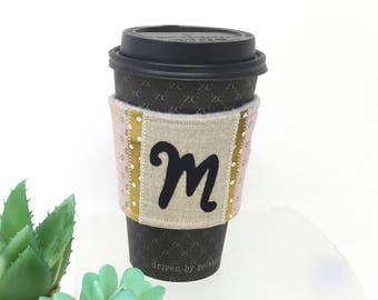 Personalized Coffee Sleeve, Monogram Coffee Cozy, Cute Coffee Sleeve, Coffee Cozy,  Initial Coffee Sleeve, Coffee Gift, Coworker Gift