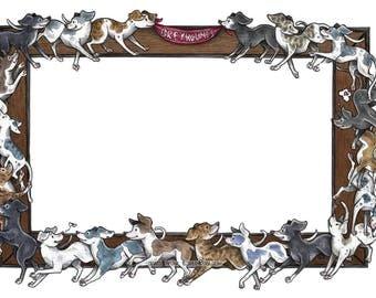 Greyhound Border Digital Download Clipart