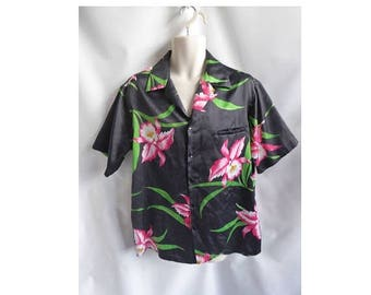 Vintage Hawaiian Shirt Size XL Black Pink Floral Luau 70s Hilo Hatties