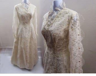 Vintage 60s Wedding Dress size S M White Lace Rhinestone Crinoline Petticoat