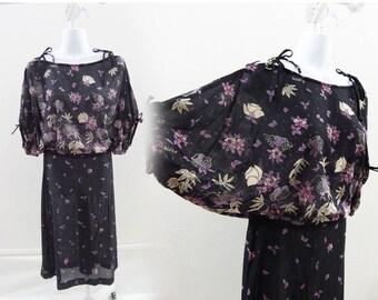 Vintage 70s Dress Size L Black Floral Flutter Jersey Disco Secretary Vtg 80s