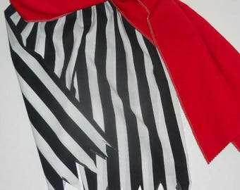 Pirate pants,with Sash ONLY,  Sz 1 thru 5, midcalf, black n wht OR red n wht stripes..