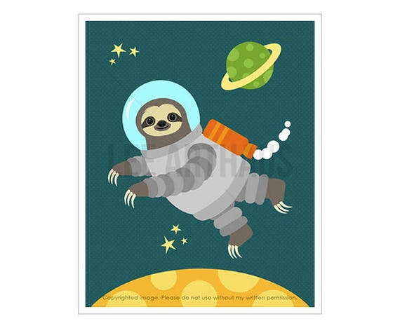 20J Space Art - Sloth Astronaut in Space Wall Art - Planet Theme Nursery - Space Print - Astronaut Print - Funny Art for Boys Bedroom