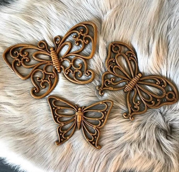 vintage butterfly wall hangings - faux bamboo - boho cottage wall decor - Set of 3