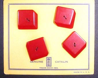 Catalin dark red buttons on original card - Set of Four