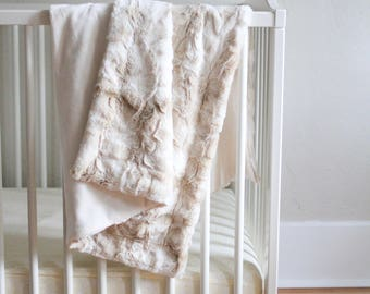 Magnolia Blanket, Baby or Toddler Minky and Faux Rabbit Fur, Modern Baby Couture, Photo Prop for Baby Announcements and Everyday Use