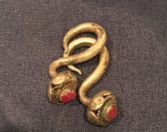 Old Thai Tribal Silver and Ruby Earrings