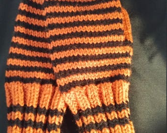Knitted Mittens: Orange and Black