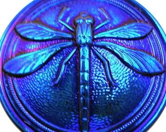 """XL Czech glass BUTTON, Cobalt Blue with DRAGONFLY, 1 3/16"""", 31mm."""