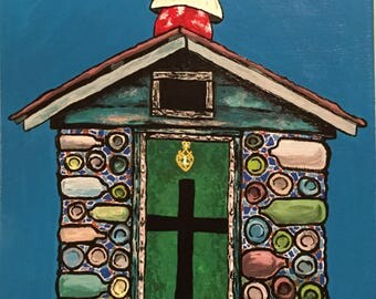 "11"" x 14"" unframed Bottle House Painting"