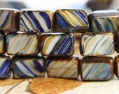 CREAM ROYALS .. NEW 15 Picasso Czech Glass Rectangle Beads 12x8.5mm (B1033-st)