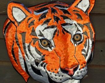 Bengal Tiger - life-sized aluminum metal wild cat - wall art sculpture - orange and black inks - OOAK
