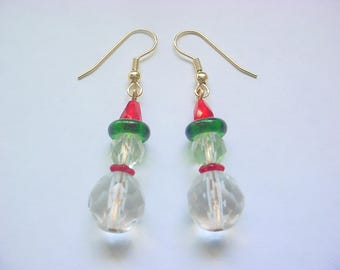 Christmas Snowman 5 Glass Bead Dangle Drop Earrings (Large)