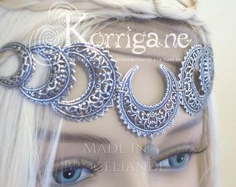 "Triple Goddess Circlet ""Belisama"" - Labradorite - Mother Goddess - Wicca - Triple Moon - Pagan - Tiara Diadem - Moon"
