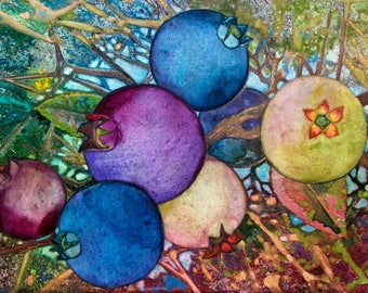 Wild Blueberries an original  watercolor on canvas
