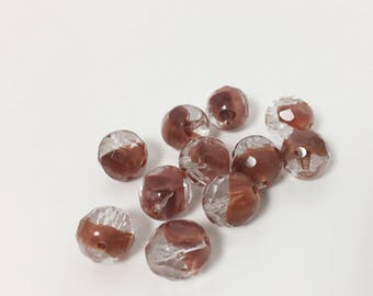 11 Vintage German Glass Faceted Beads - 10 mm round - Brown and Crystal