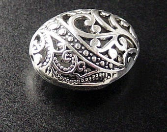 Bead Spacer 4 Antique Silver Puffy Round Oval Victorian Filigree Hollow 23mm x 18mm x 10mm (1091spa23s1)