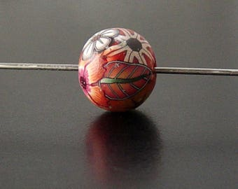 Polymer Clay Handmade 1 Bead Floral Round Brown Orange Flower Leaf Green (2080clay)