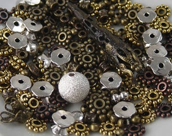 Findings Supplies Grab Bag Bronze Silver Gold Bead Spacers Caps Widows Orphans (Part #283grab1)