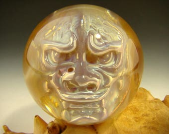 Phantom Japanese Oni Glass Art Marble by ELLY 3/D Orb Silver and Gold Troll Goblin Demon VGW (Ready to Ship)