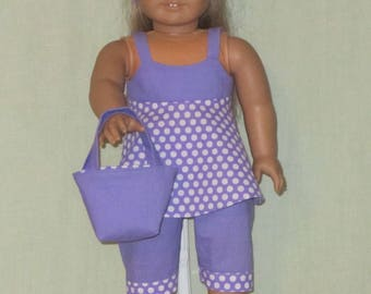 American Girl 18 inch Doll Light Purple Polka Dots Pants Top Tote and Head Band
