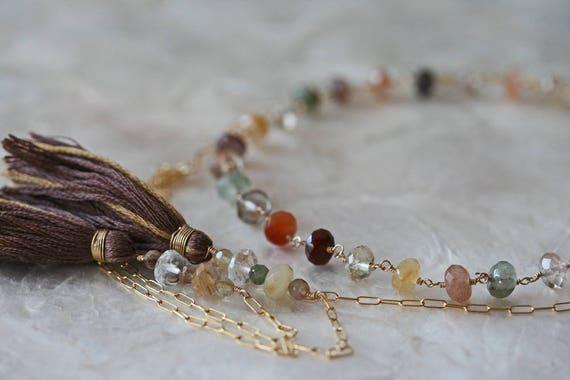 Multicolored Rutilated Quartz Wrap Necklace with Tassels