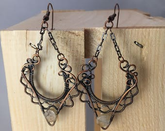 Copper wire wrap earrings with quartz