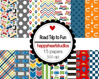 Digital Scrapbooking RoadTripToFun, Instant Download- Vacation