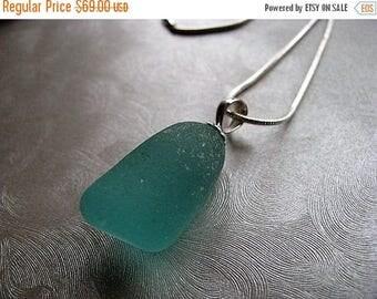 SEA GLASS SALE Statement Aqua Blue Sea Glass Stopper Necklace - Beach Glass Necklace - Beach Glass Jewelry
