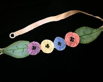 Vintage Original 1920s Belt Hand Made Multi Colored Green Purple Yellow Blue Pink Flowers n Leaves Accessory 20s Flapper Fabric Belt