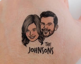 Wedding favors for guest custom portrait for couples' tattoo / Save the date / bachelorette favor / face bridesmaid groom engagement ring