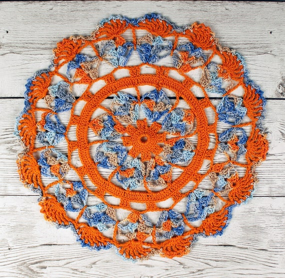 Lovely Crocheted Variegated Blue Tan Orange Table Topper Doily - 10 1/2 inches