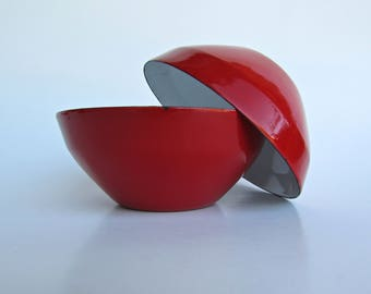 Michael Lax for Copco 2 Lipstick Red Enameled Bowls, Made in Switzerland